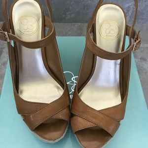 NWT Jessica Simpson Gabbie brown wedge sandals